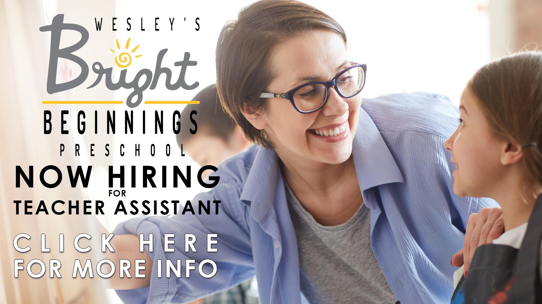 teacher's assistant job opening at wesley UMC BLOOMINGTON