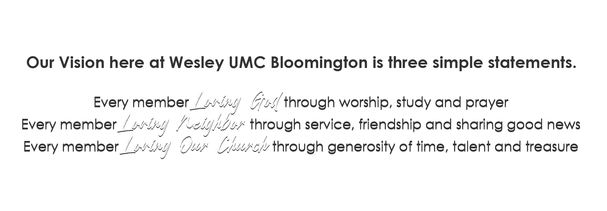 Wesley UMC Bloomington Vision Statement