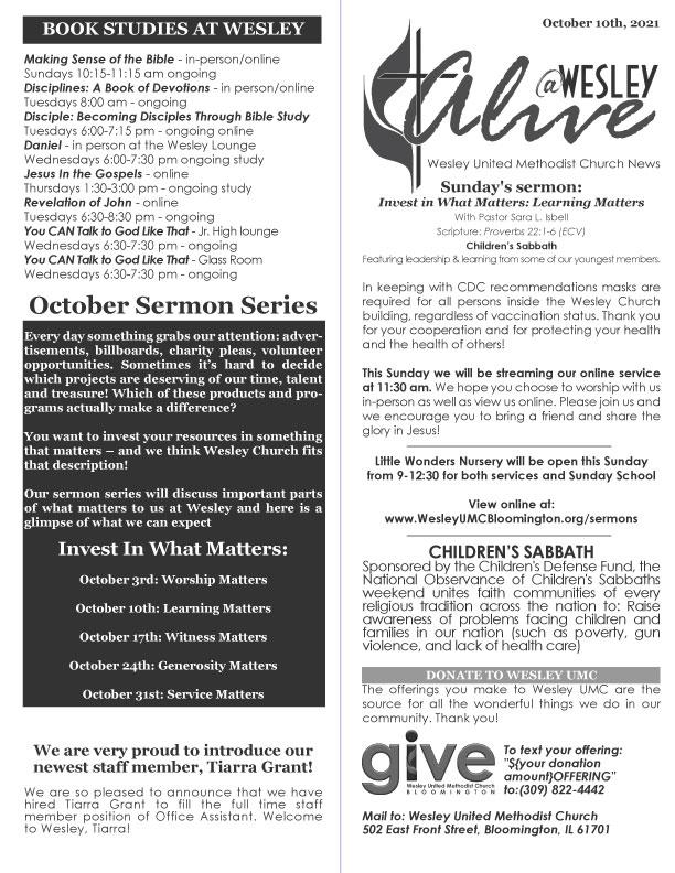 alive newsletter wesley umc bloomington 10/10/21